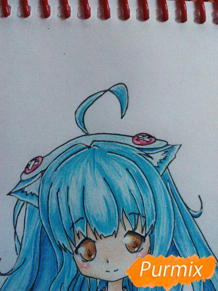 Рисуем милую чиби-тян цветными карандашами - шаг 17
