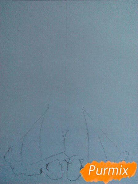 Рисуем милую чиби-тян цветными карандашами - шаг 2