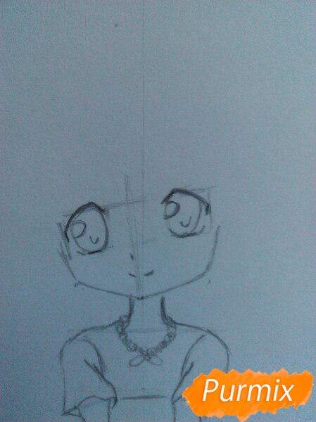 Рисуем милую чиби-тян цветными карандашами - шаг 6