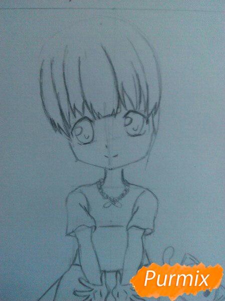 Рисуем милую чиби-тян цветными карандашами - шаг 7