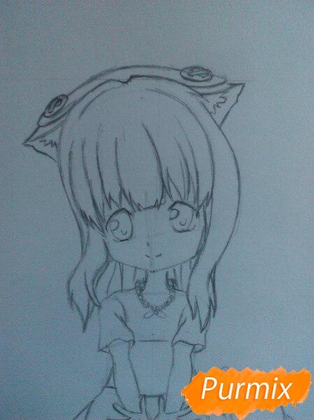 Рисуем милую чиби-тян цветными карандашами - шаг 8