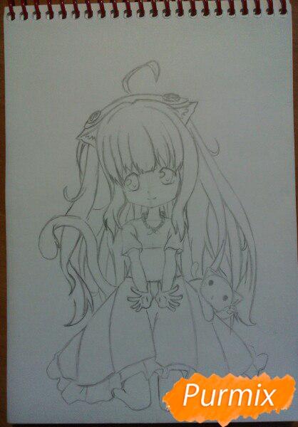 Рисуем милую чиби-тян цветными карандашами - шаг 9