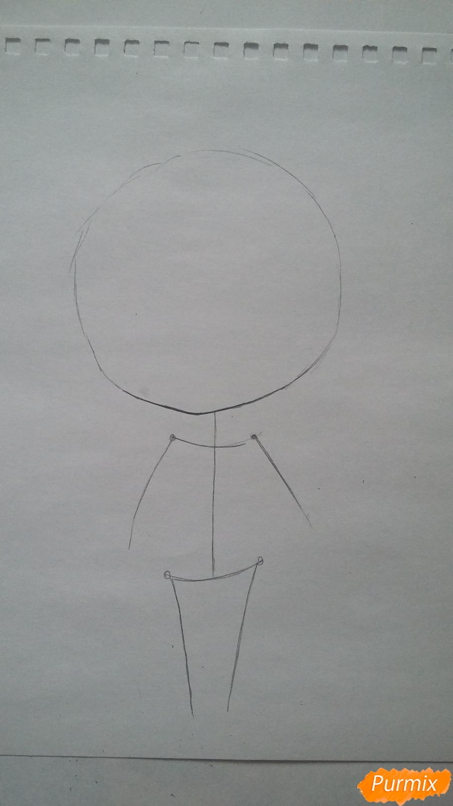 Рисуем милую чиби-тян в пижаме и игрушкой в руке карандашами - шаг 1