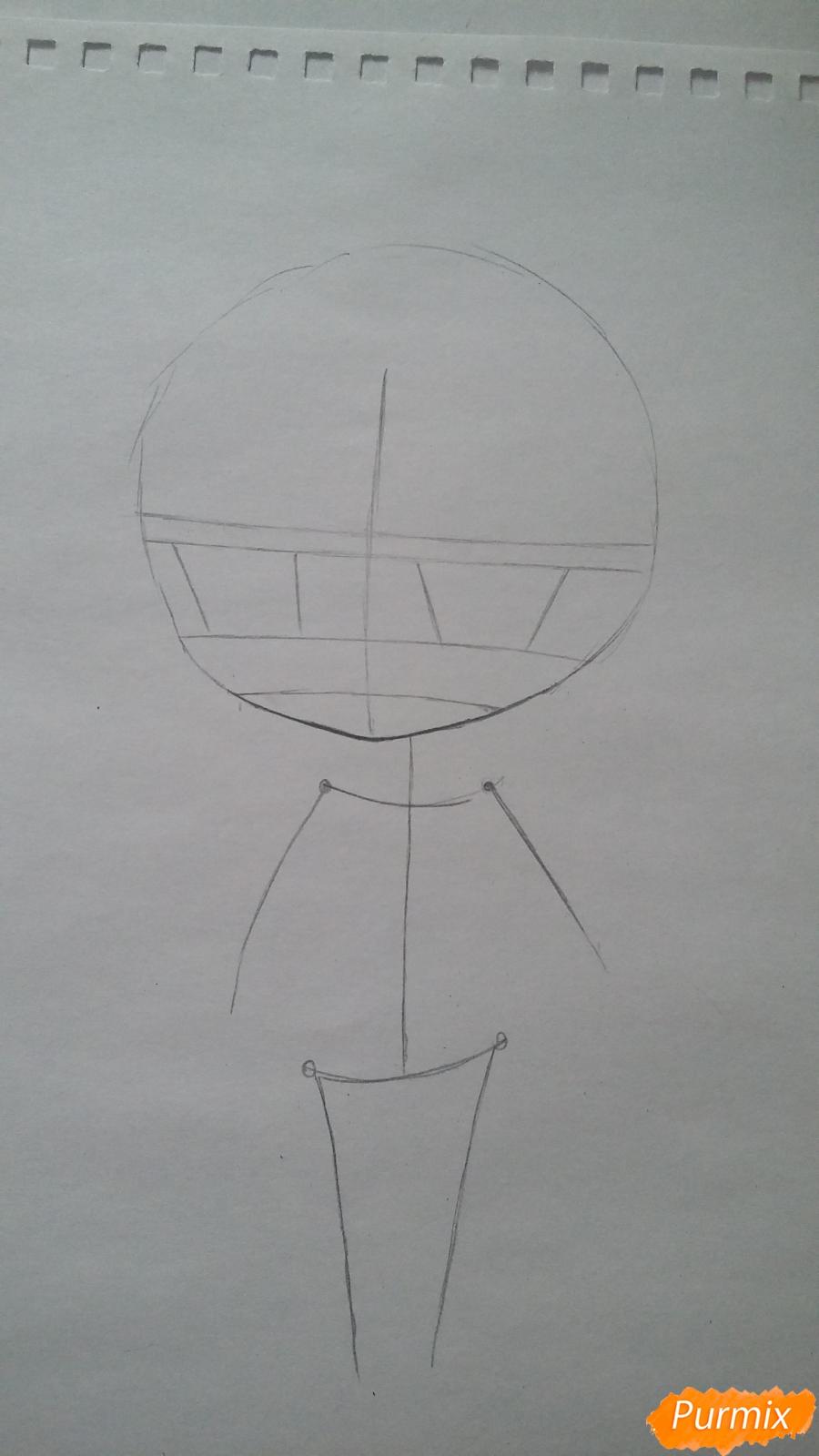 Рисуем милую чиби-тян в пижаме и игрушкой в руке карандашами - шаг 2
