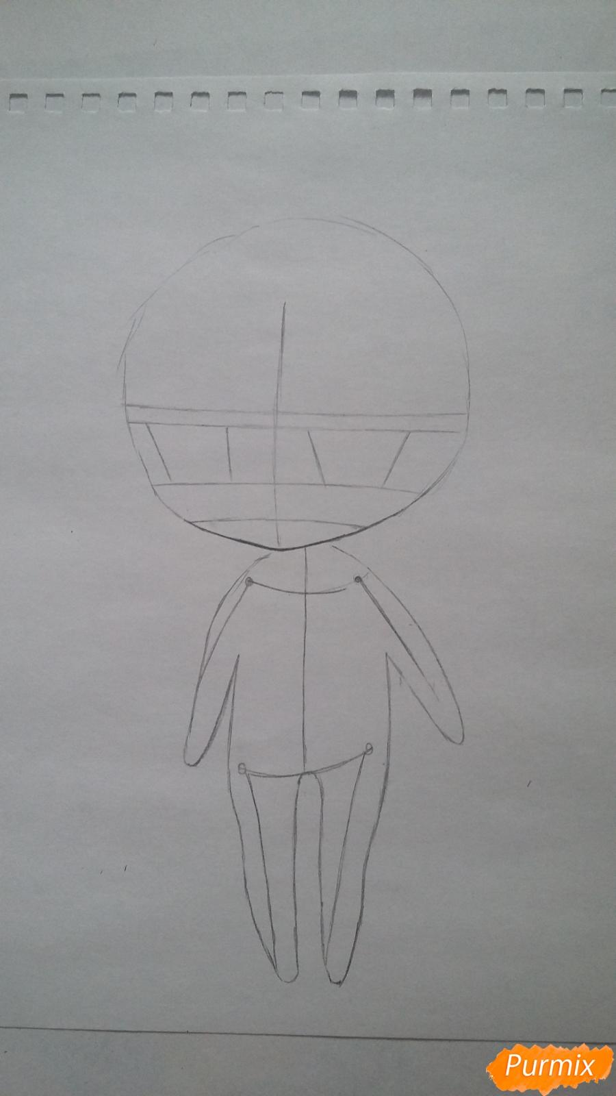 Рисуем милую чиби-тян в пижаме и игрушкой в руке карандашами - шаг 3