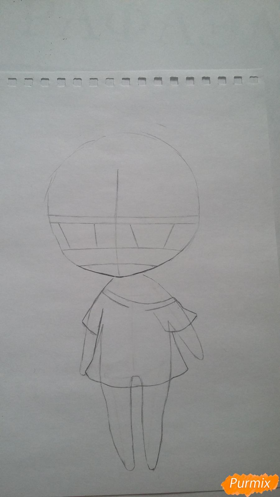 Рисуем милую чиби-тян в пижаме и игрушкой в руке карандашами - шаг 4