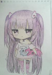 Рисунок милую чиби-тян в пижаме и игрушкой в руке