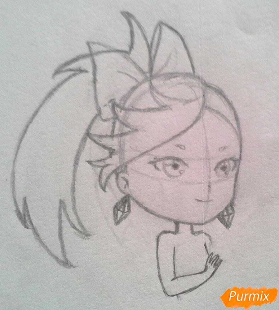 Рисуем Мохито-тян в стиле чиби карандашами - шаг 10