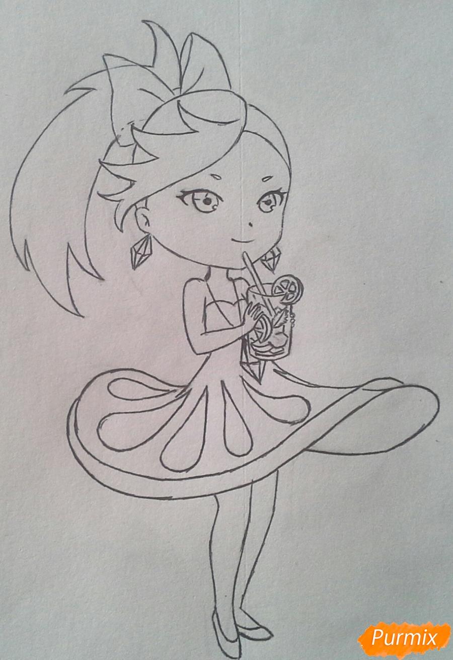 Рисуем Мохито-тян в стиле чиби карандашами - шаг 16