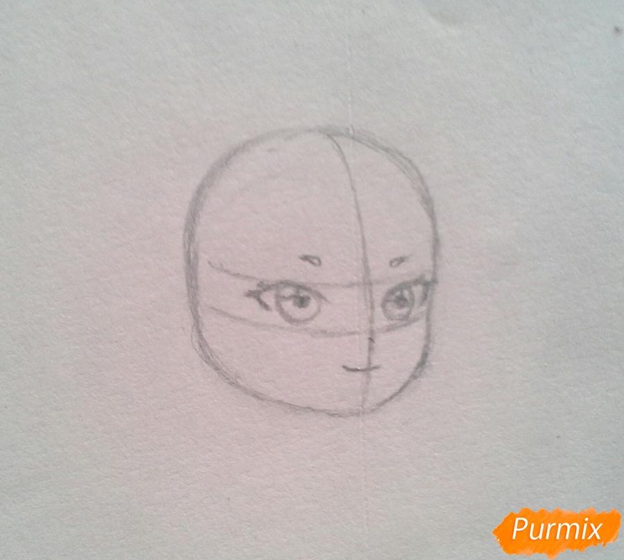 Рисуем Мохито-тян в стиле чиби карандашами - шаг 4