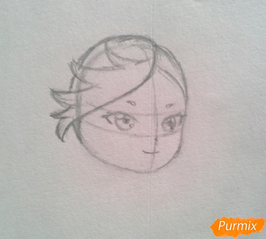Рисуем Мохито-тян в стиле чиби карандашами - шаг 5