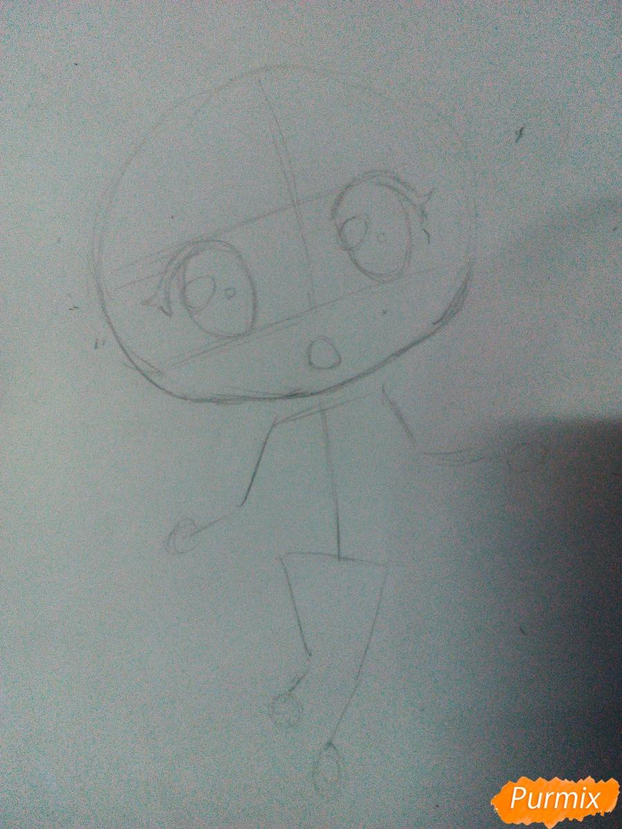 Рисуем Моку Акасию в стиле чиби карандашами - шаг 2