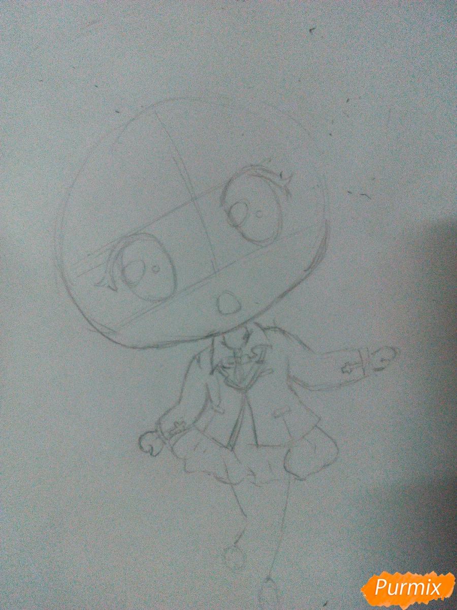 Рисуем Моку Акасию в стиле чиби карандашами - шаг 3