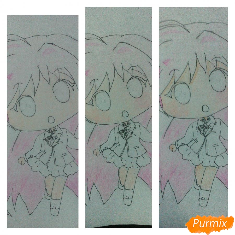 Рисуем Моку Акасию в стиле чиби карандашами - шаг 7