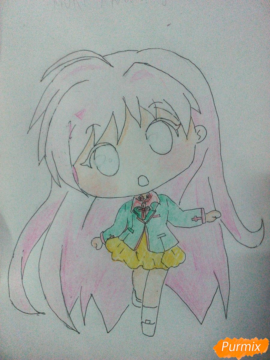 Рисуем Моку Акасию в стиле чиби карандашами - шаг 8