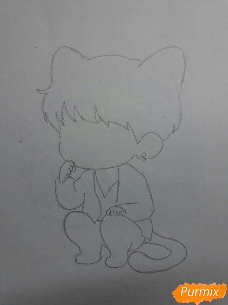 Рисуем неко-чиби мальчика цветными карандашами - шаг 1