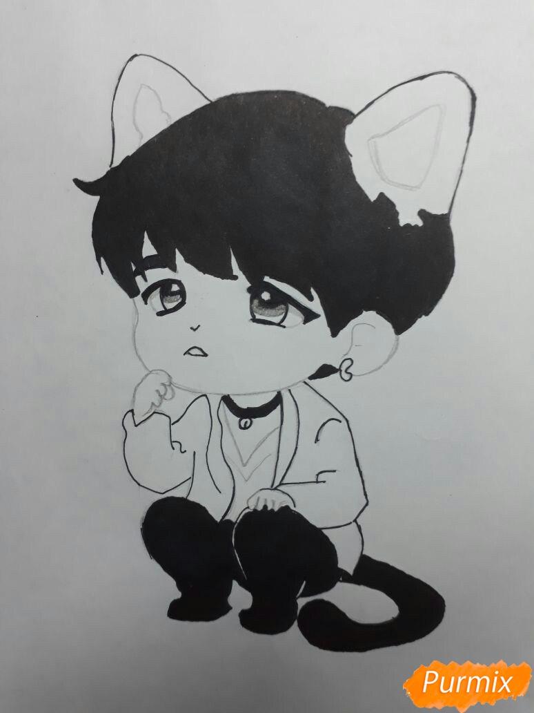 Рисуем неко-чиби мальчика цветными карандашами - шаг 3