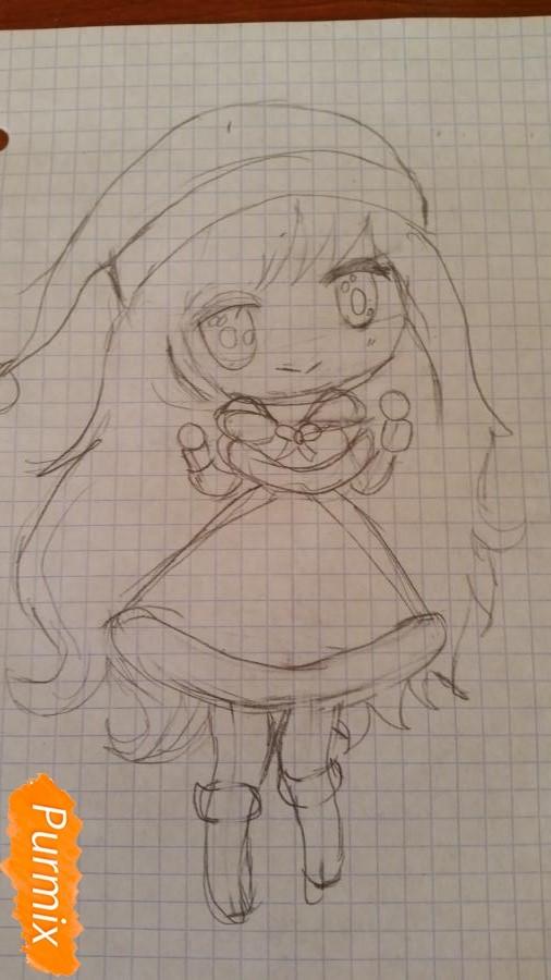 Рисуем новогоднюю чиби девочку - фото 4
