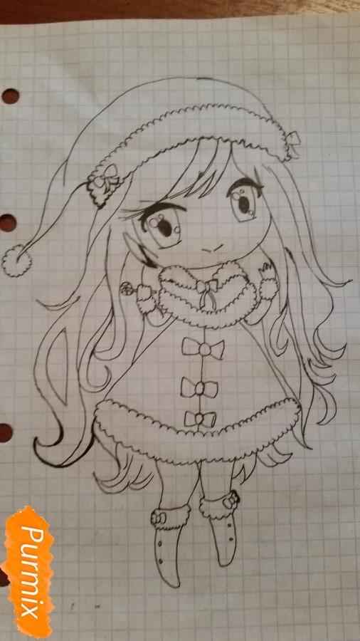 Рисуем новогоднюю чиби девочку - фото 5