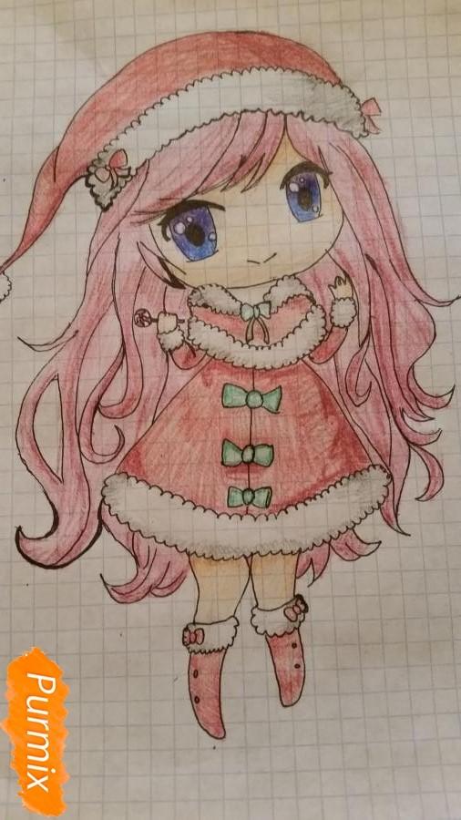 Рисуем новогоднюю чиби девочку - фото 6