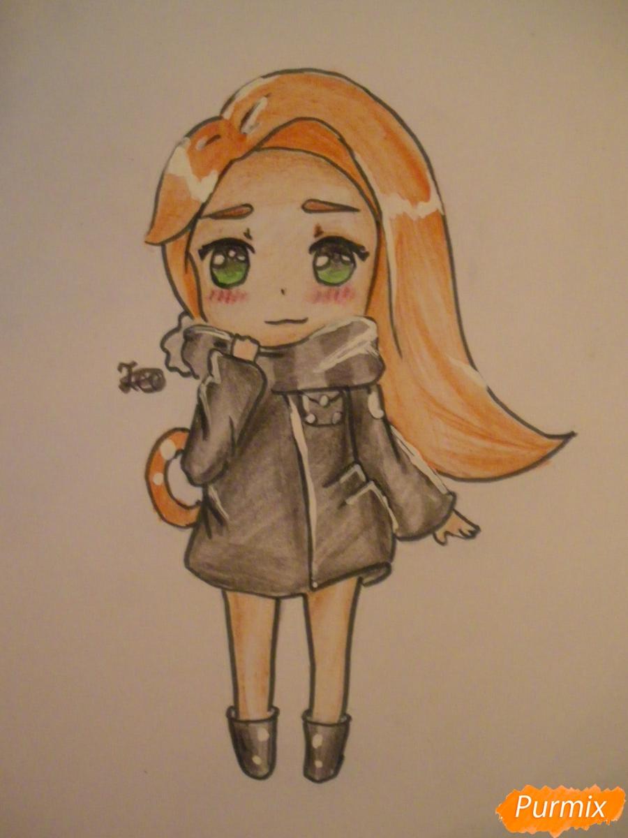 Как нарисовать рыжую чиби девочку с шарфиком карандашами поэтапно
