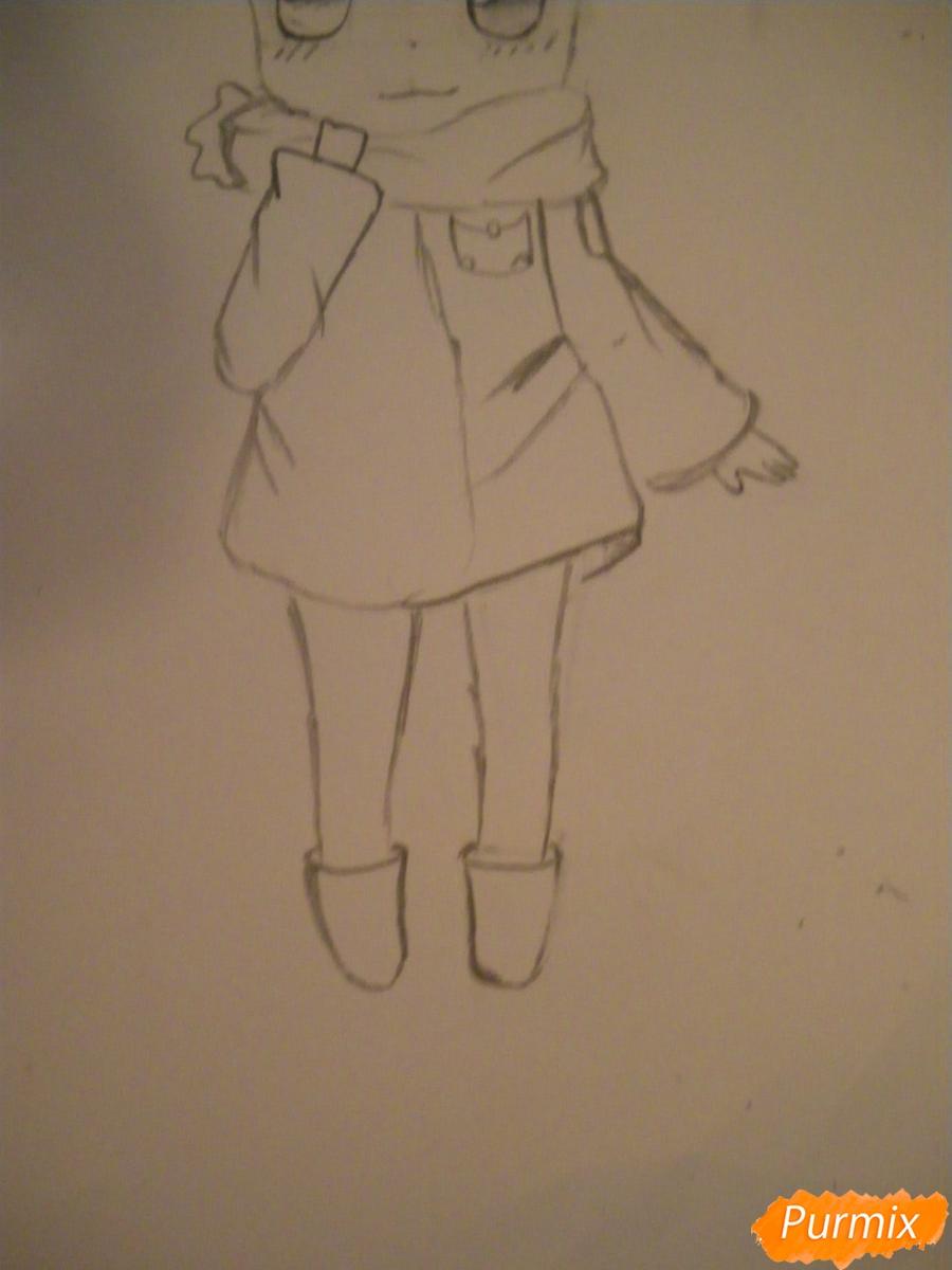 Рисуем рыжую чиби девочку с шарфиком карандашами - шаг 4