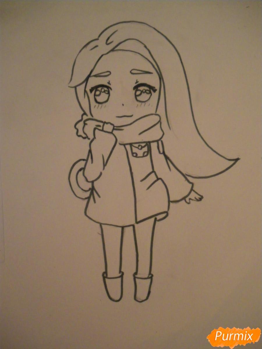 Рисуем рыжую чиби девочку с шарфиком карандашами - шаг 6