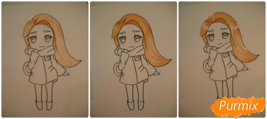 Рисуем рыжую чиби девочку с шарфиком карандашами - шаг 7