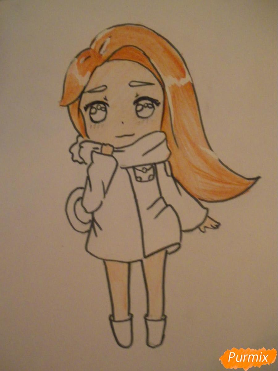Рисуем рыжую чиби девочку с шарфиком карандашами - шаг 8