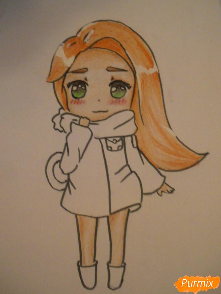 Рисуем рыжую чиби девочку с шарфиком карандашами - шаг 9