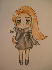 Рисунок рыжую чиби девочку с шарфиком