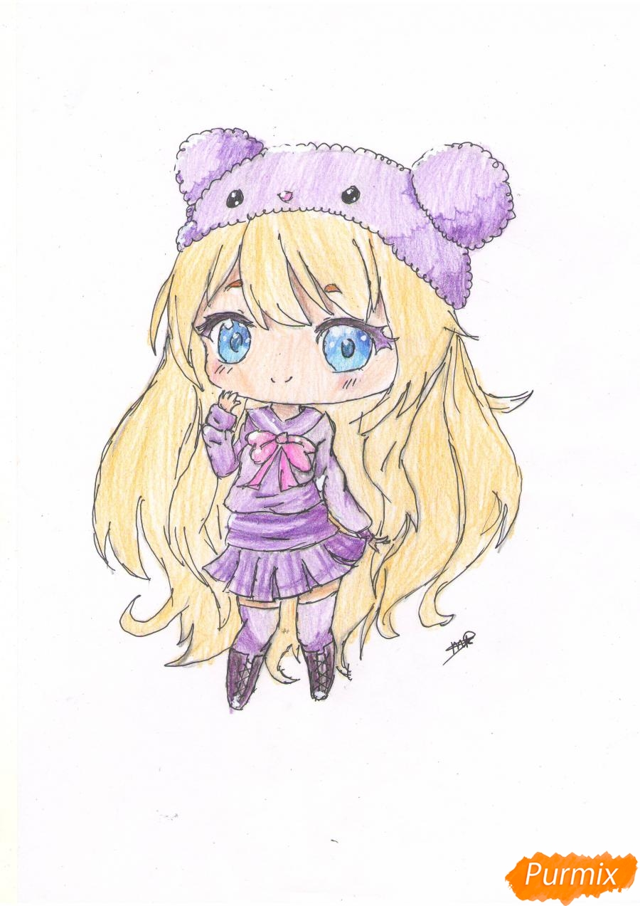 Рисуем рыжую чиби девочку в шапке цветными карандашами - шаг 10