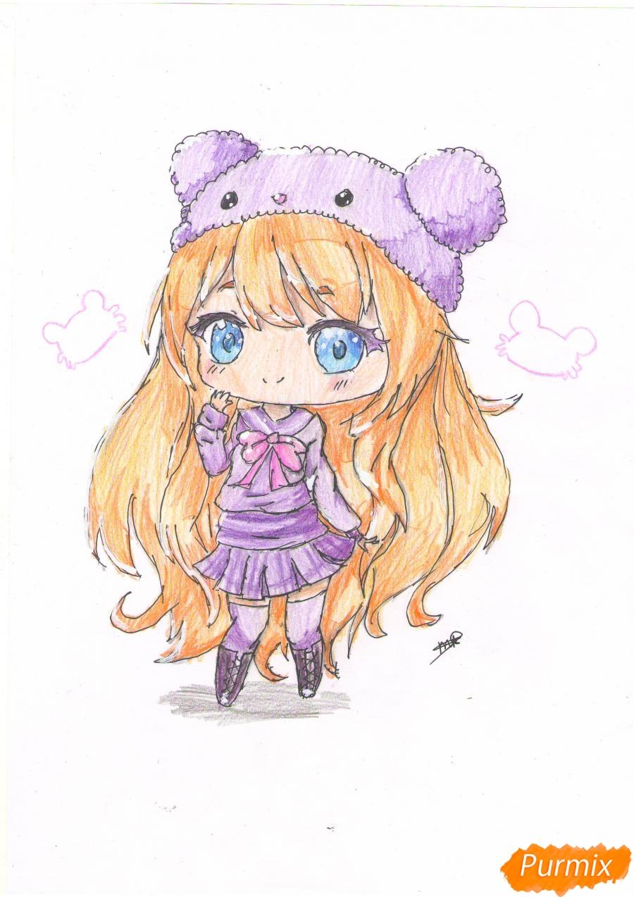 Как нарисовать рыжую чиби девочку в шапке цветными карандашами поэтапно