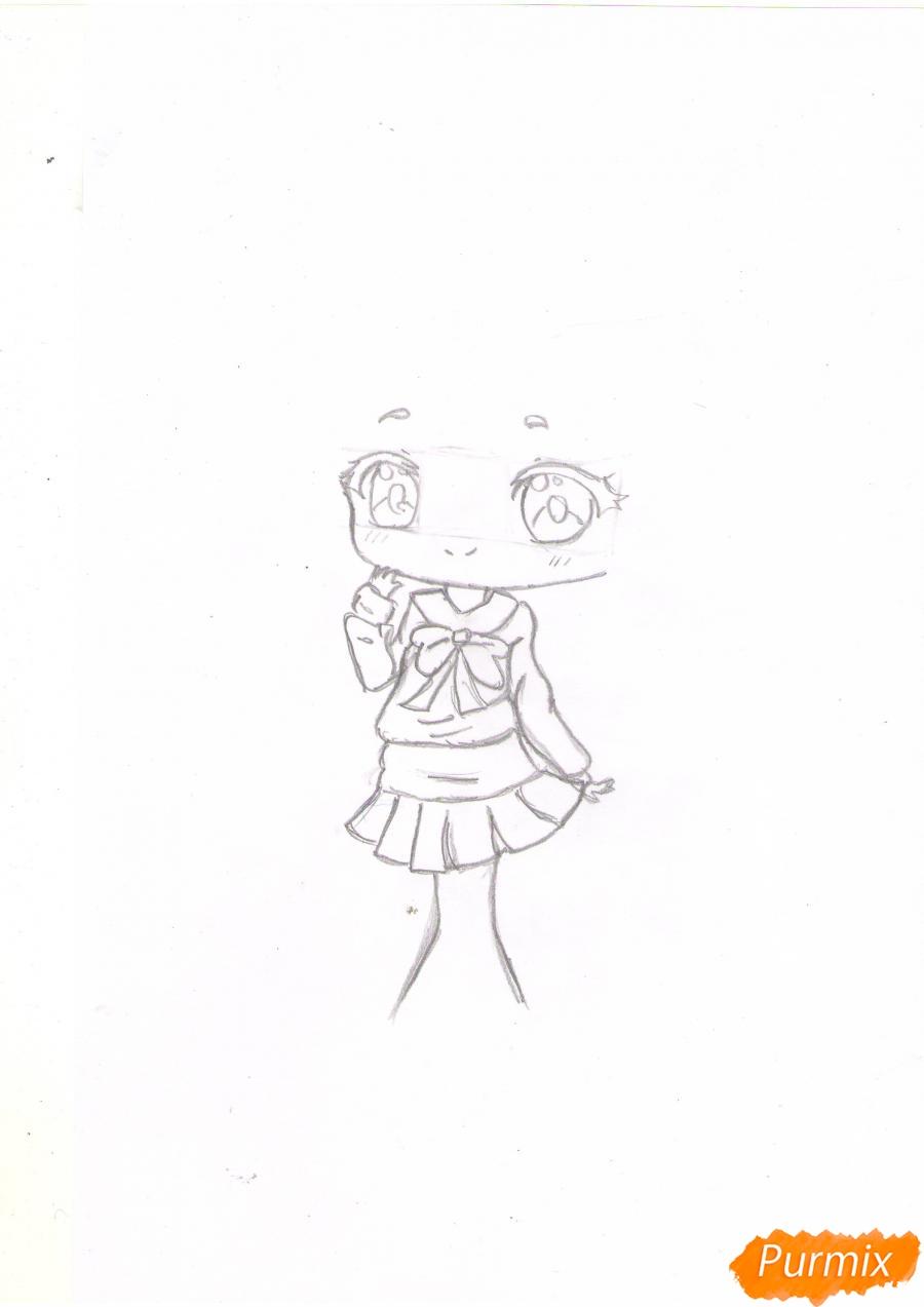 Рисуем рыжую чиби девочку в шапке цветными карандашами - шаг 3