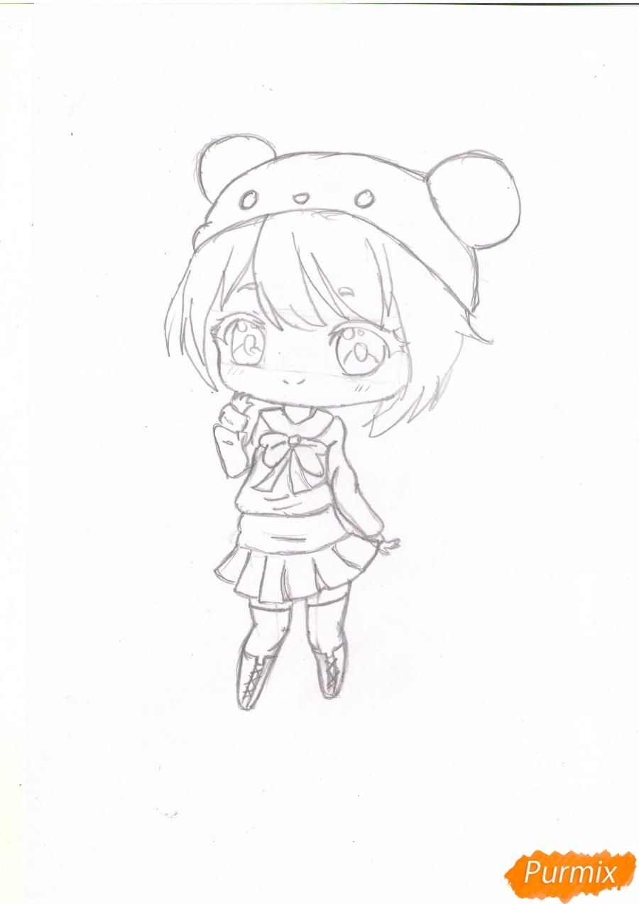 Рисуем рыжую чиби девочку в шапке цветными карандашами - шаг 4