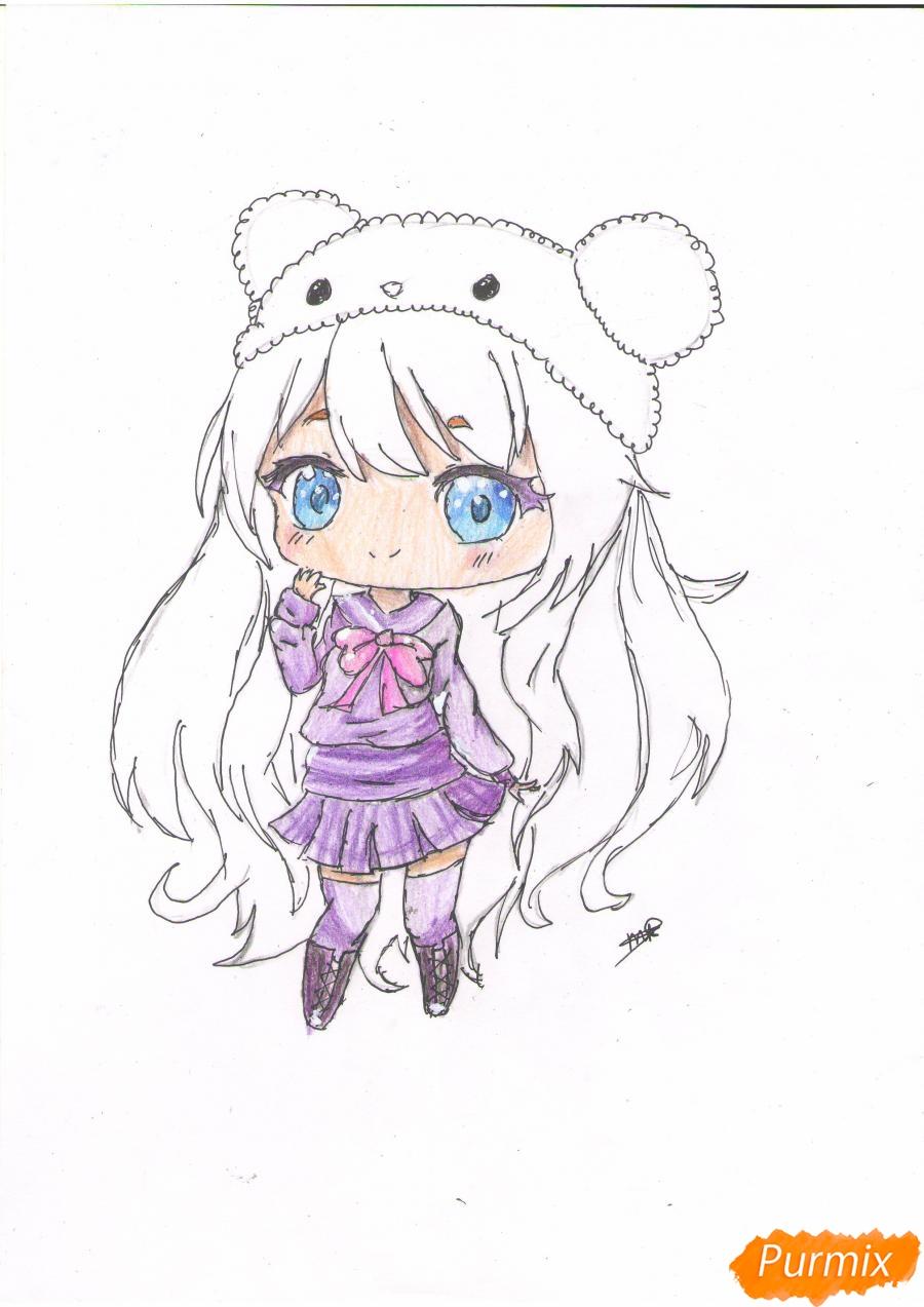 Рисуем рыжую чиби девочку в шапке цветными карандашами - шаг 8