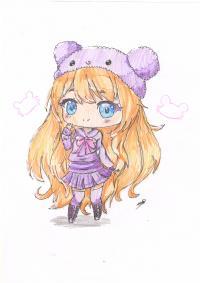 Рисунок рыжую чиби девочку в шапке цветными