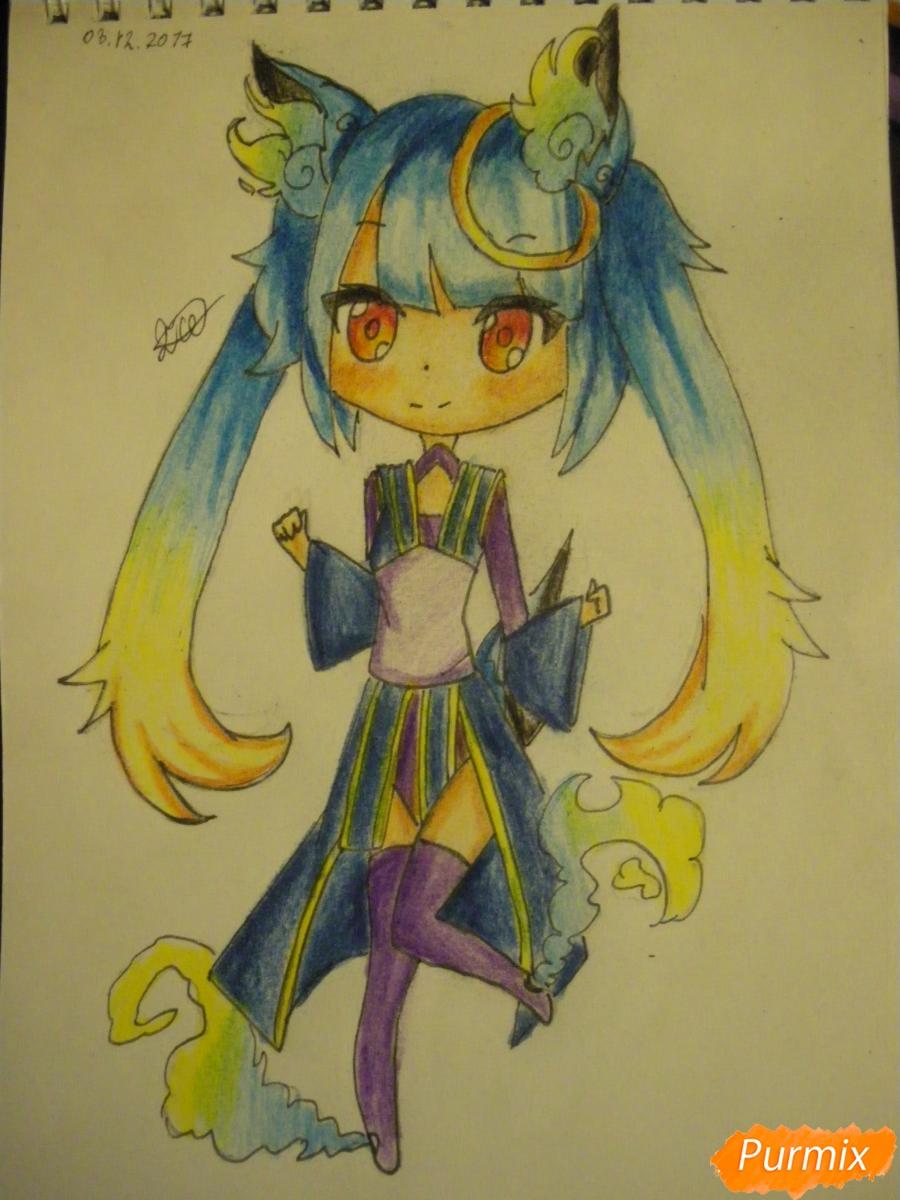 Как нарисовать синюю девочку лисицу в стиле чиби карандашами поэтапно