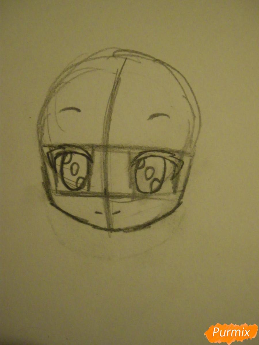 Рисуем синюю девочку лисицу в стиле чиби карандашами - шаг 2