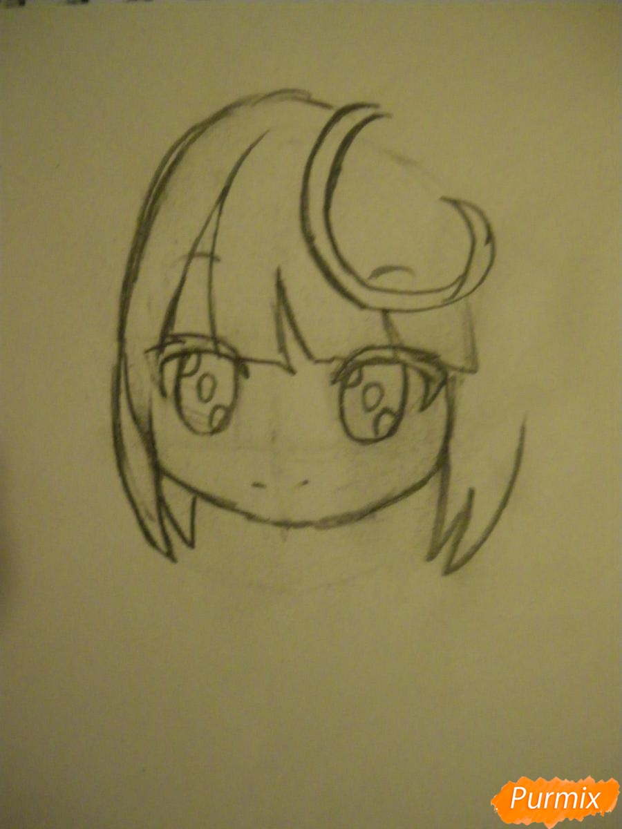 Рисуем синюю девочку лисицу в стиле чиби карандашами - шаг 3