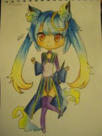 синюю девочку лисицу в стиле чиби карандашами