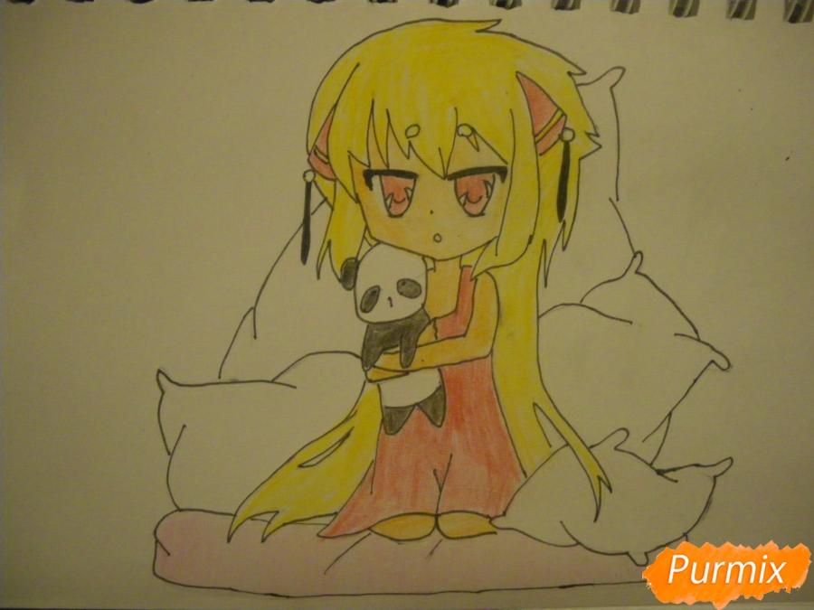 Рисуем сонную чиби девочку с подушками - фото 10