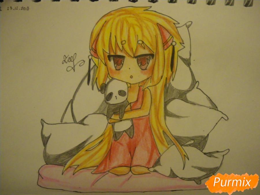 Как нарисовать сонную чиби девочку с подушками поэтапно