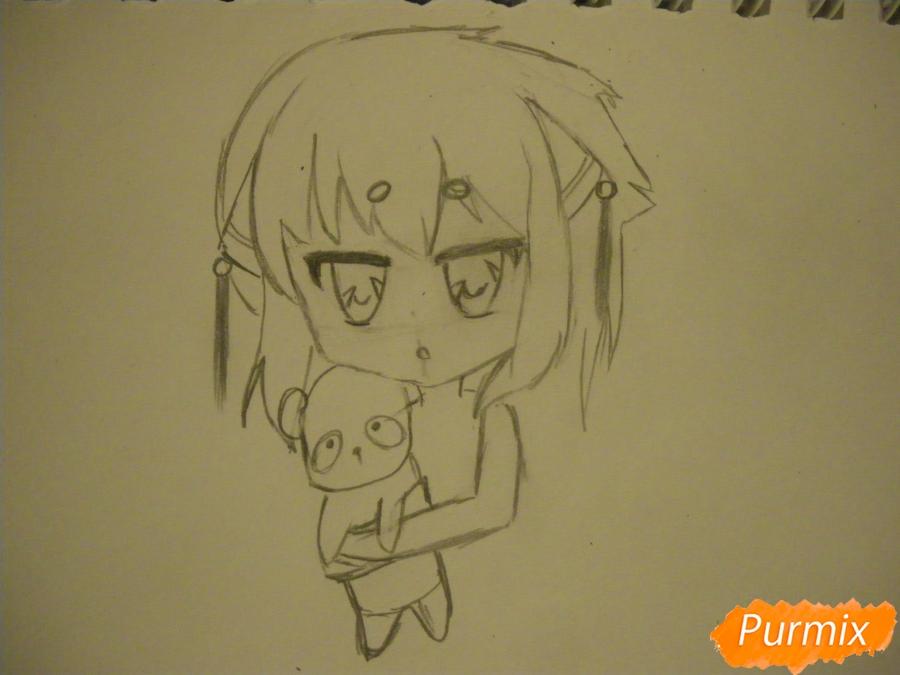 Рисуем сонную чиби девочку с подушками - фото 5