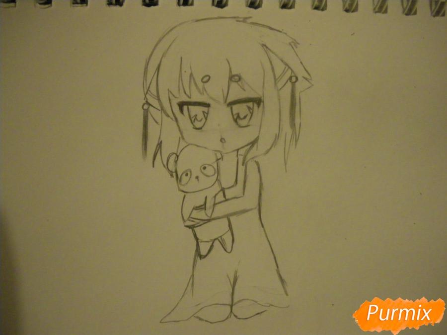 Рисуем сонную чиби девочку с подушками - фото 6