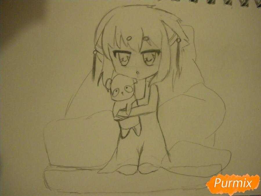 Рисуем сонную чиби девочку с подушками - фото 7