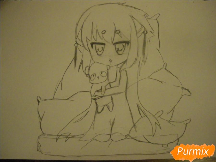 Рисуем сонную чиби девочку с подушками - фото 8
