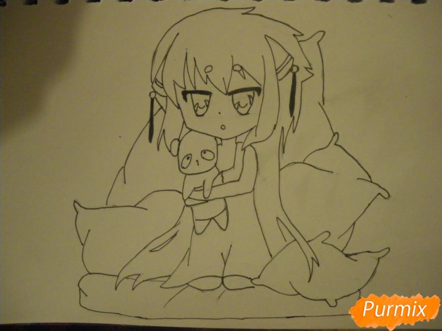 Рисуем сонную чиби девочку с подушками - фото 9
