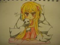 сонную чиби девочку с подушками карандашами