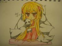 Фото сонную чиби девочку с подушками карандашами